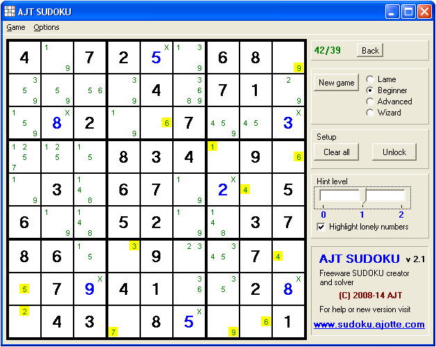 Click to view Ajt Sudoku screenshots